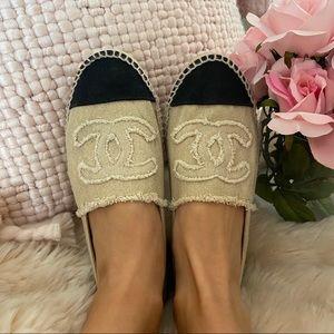 Chanel Linen Espadrille Beige Black Slip On Sandal